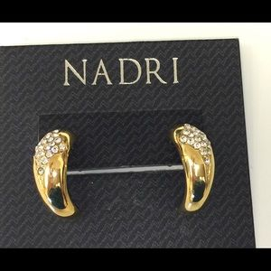 NADRI GOLD PLATED PAVE CRYSTAL HUGGIE EARRINGS